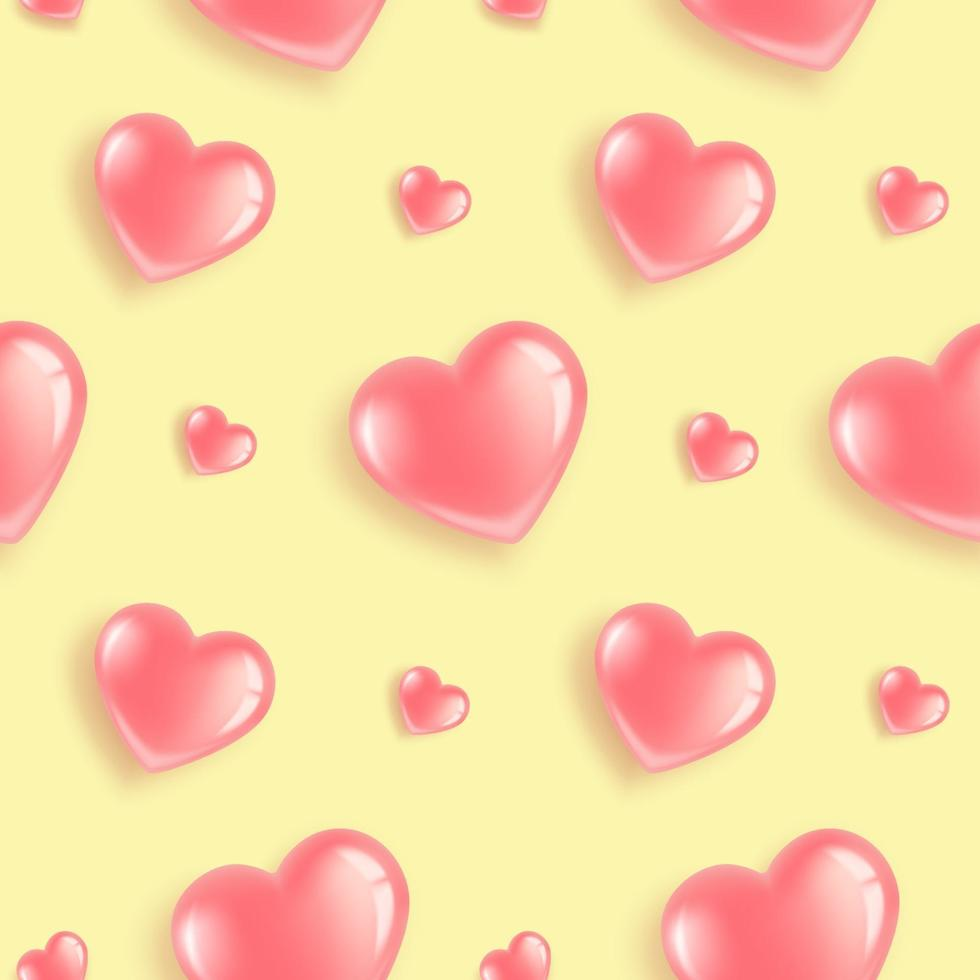 rosa hjärtan mönster på gult vektor