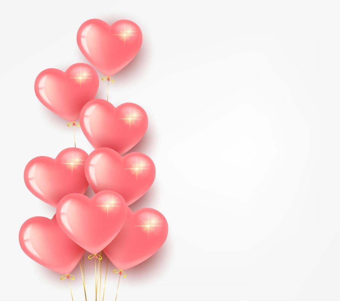 Grußkarten-Banner zum Valentinstag. Bündel rosa herzförmiger Luftballons. auf einem hellen Hintergrund. vektor