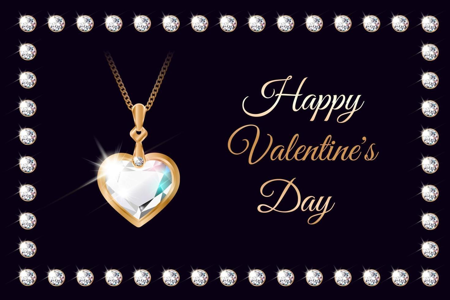 banner med diamanthjärta halsband för alla hjärtans dag vektor