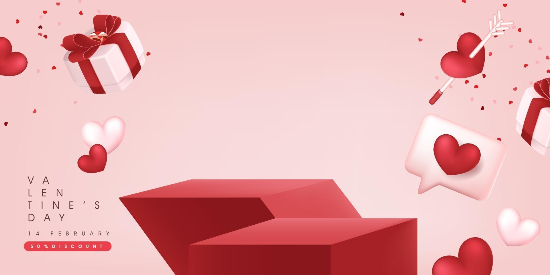 Valentinstag Sale Banner Hintergrund mit Produktanzeige. vektor