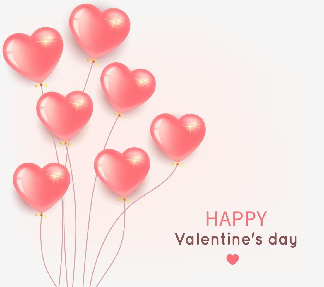 flygande rosa ballonger banner för alla hjärtans dag vektor
