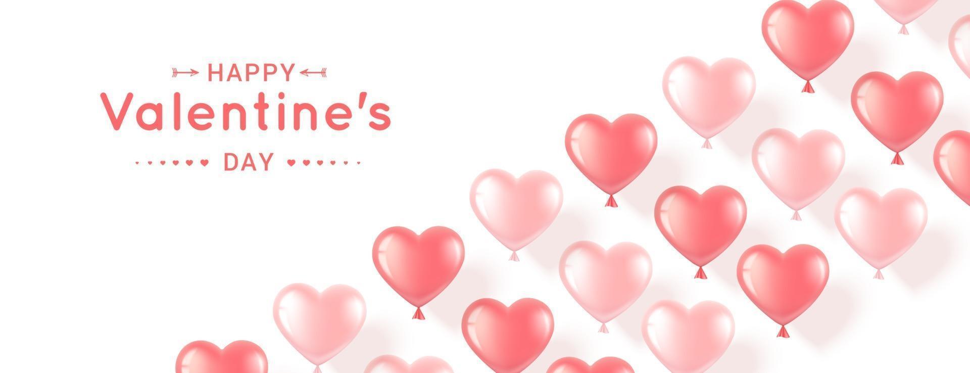 banner med rosa hjärtan för alla hjärtans dag vektor