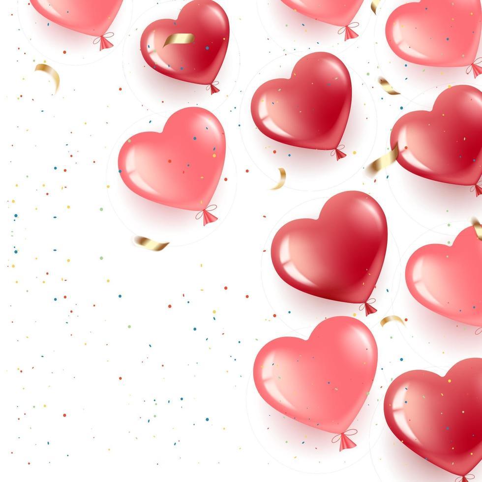 banner med hjärtballonger och konfetti vektor