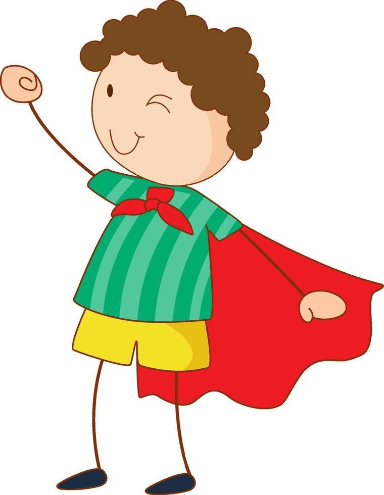 superhjälte tecknad karaktär i handritad klotterstil isolerad vektor