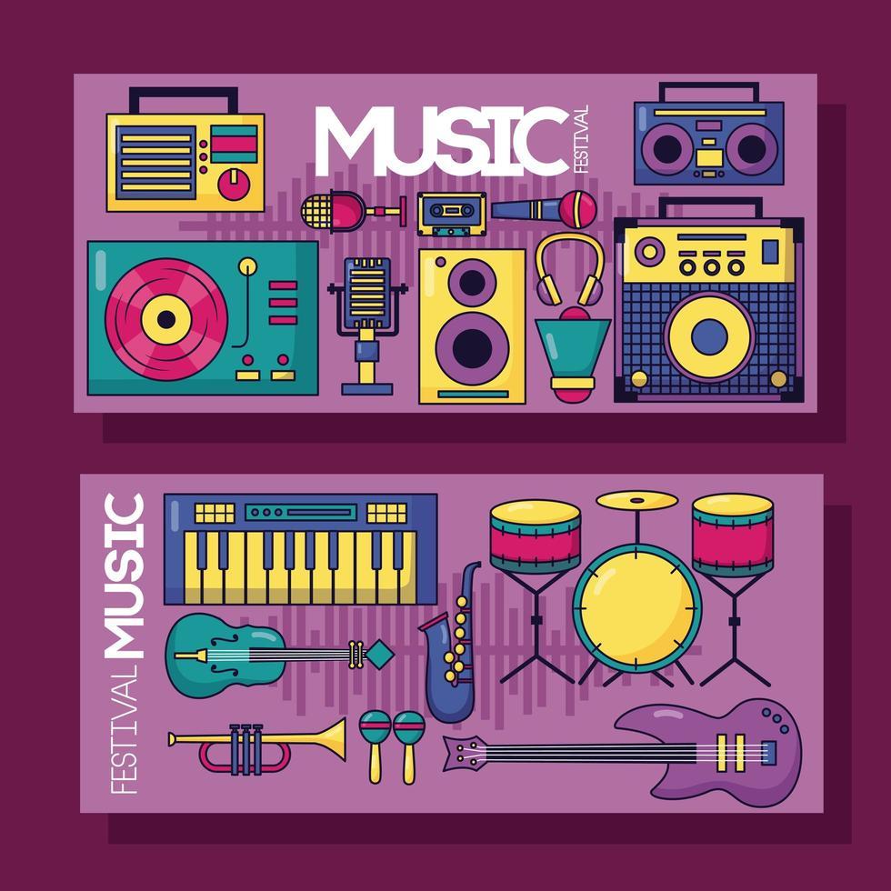 musikfestival affischuppsättning vektor