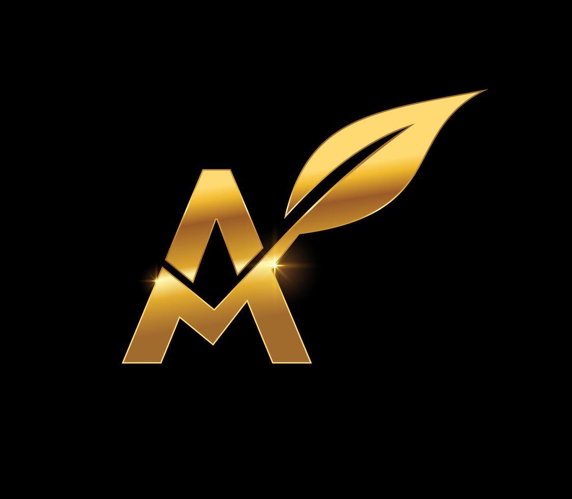 gyllene blad monogram initiala bokstaven a vektor
