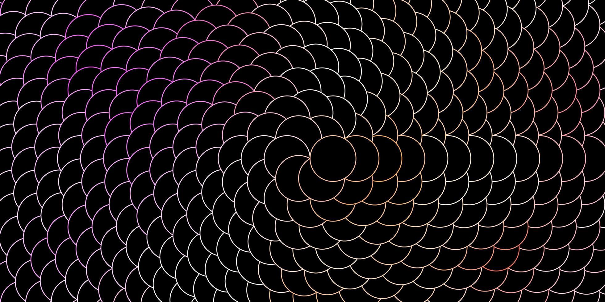 mörkrosa, gul vektorlayout med cirklar. vektor