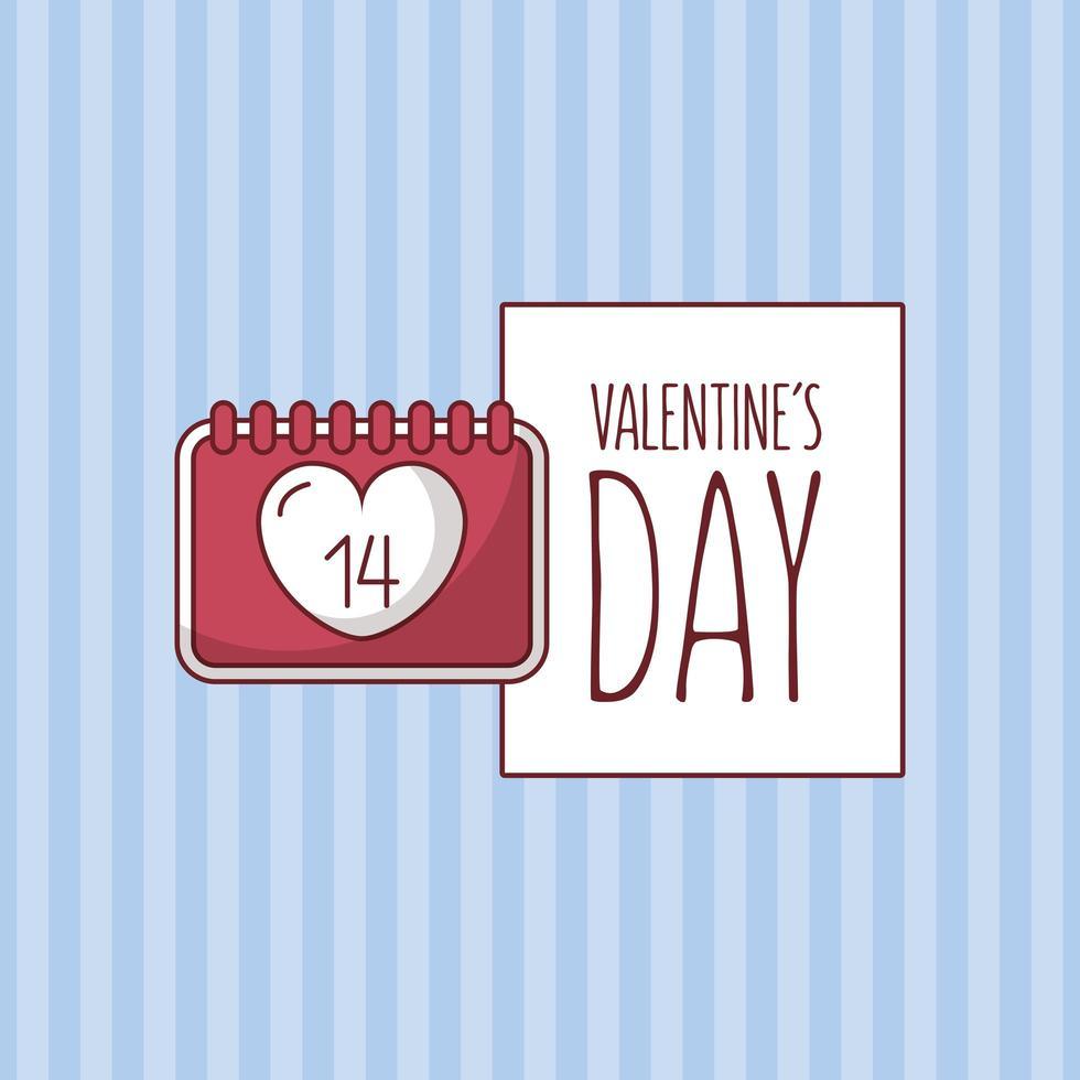 Alla hjärtans dagskortdesign med hjärtkalender vektor