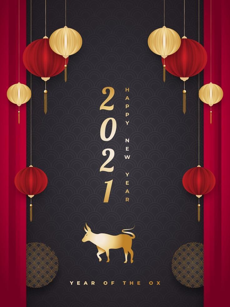 gott kinesiskt nyår 2021 år av oxen. kinesiska gratulationskort med gyllene oxar och lyktor i pappersskuren stil på svart bakgrund vektor