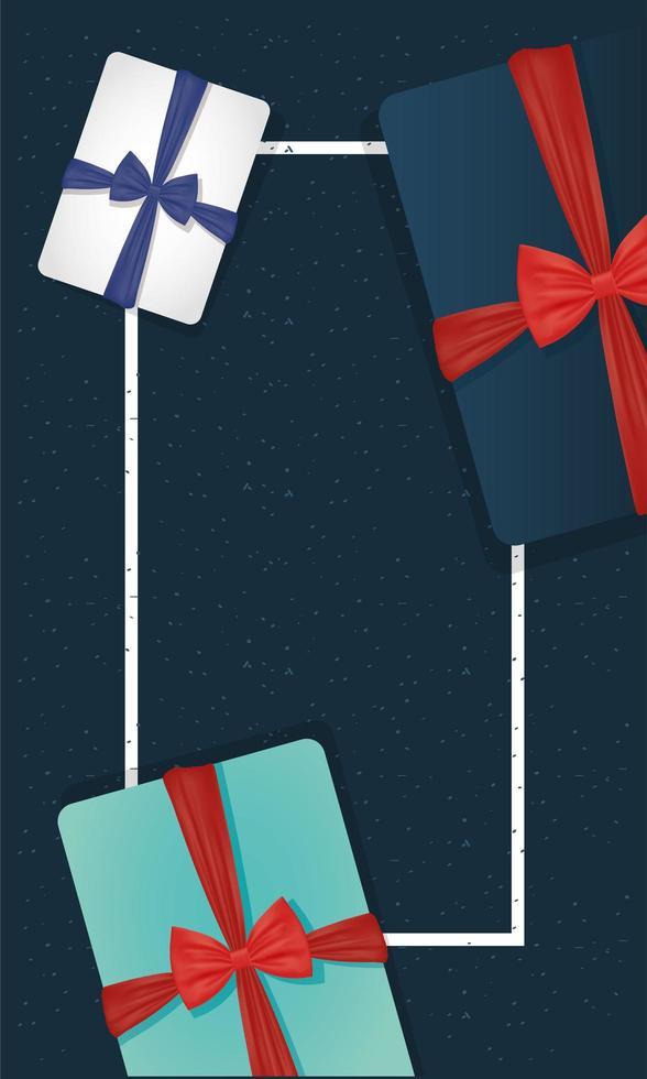 gåvor med bowties för fars dag firande vektor