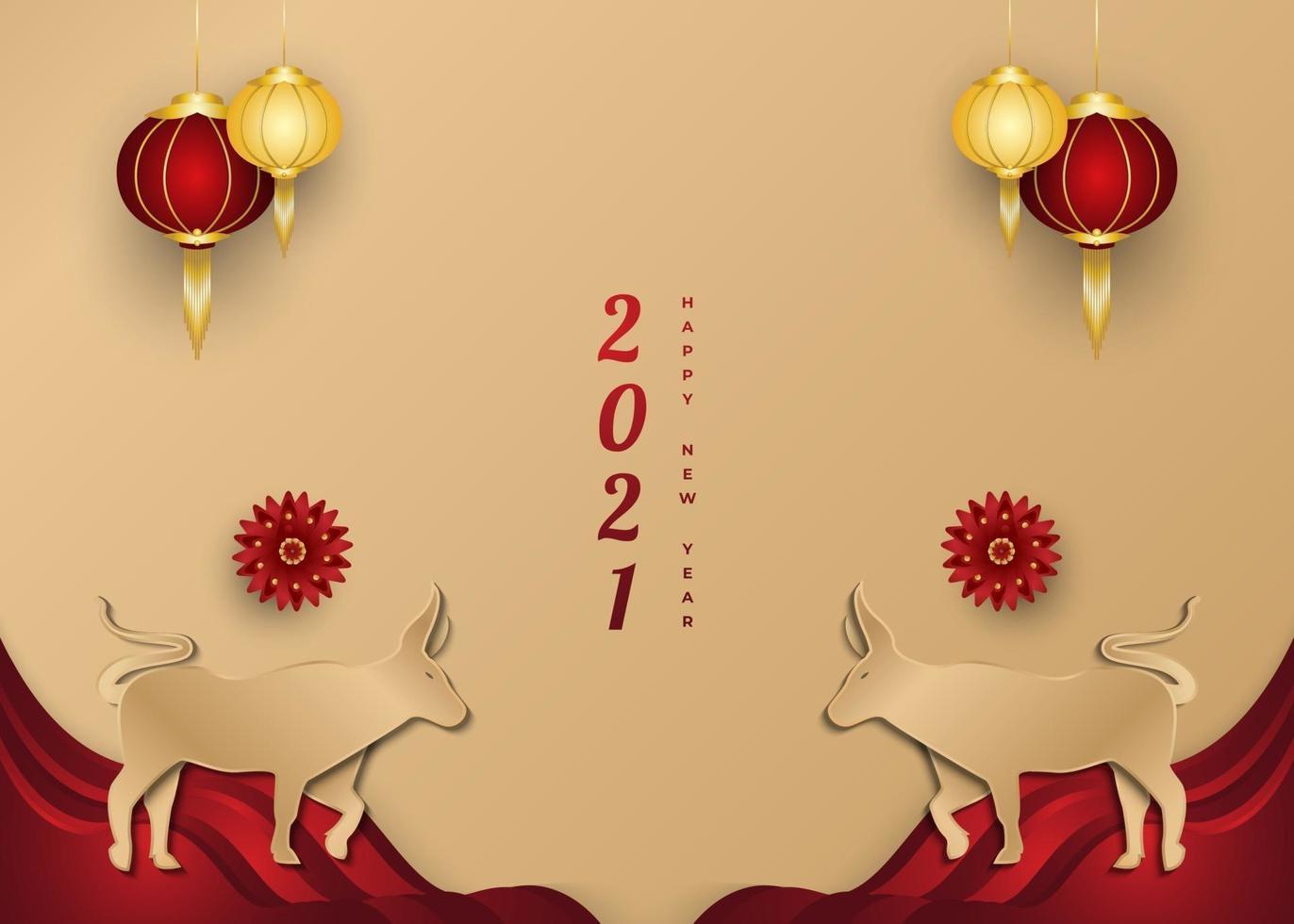 kinesiskt nyår 2021 hälsningsbanner med gyllene oxe och lykta på pappersskuren bakgrund vektor
