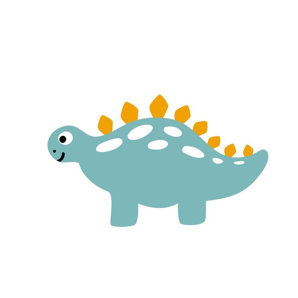 liten söt dinosaurie. skandinavisk vektorillustration för färgläggning av tecknad bild. barn dino bild isolerad på vitt. baby monster reptil för tryck, bok, affisch, banner färgläggning. vektor