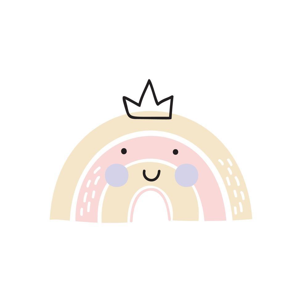 handritad skandinavisk regnbåge med krona. pastell färger. baby design för födelsedag inbjudan eller barn dusch, affisch, kläder, plantskola väggkonst och nordiska vykort. vektor