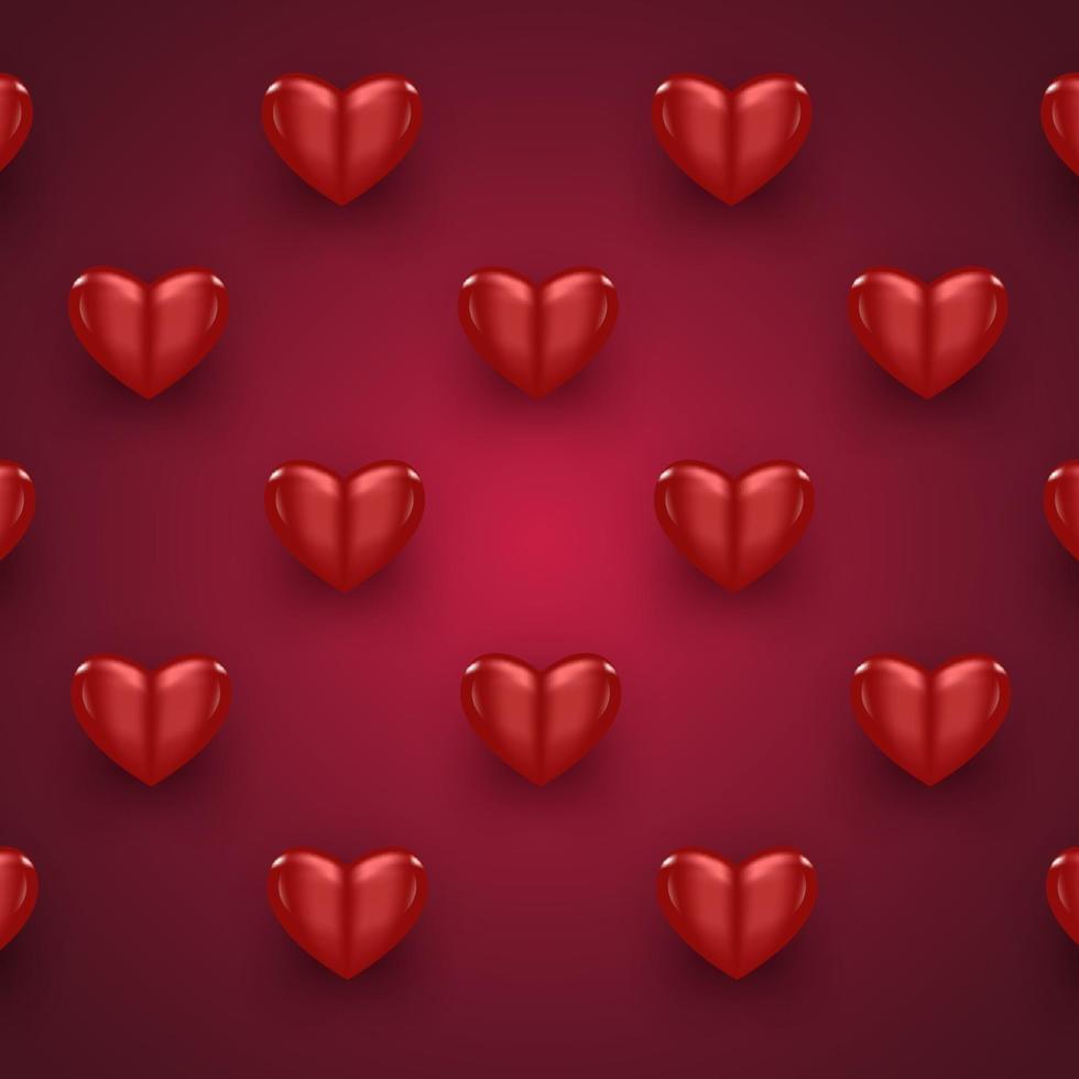 rött realistiskt hjärta på röd bakgrund för alla hjärtans dag firande element vektor