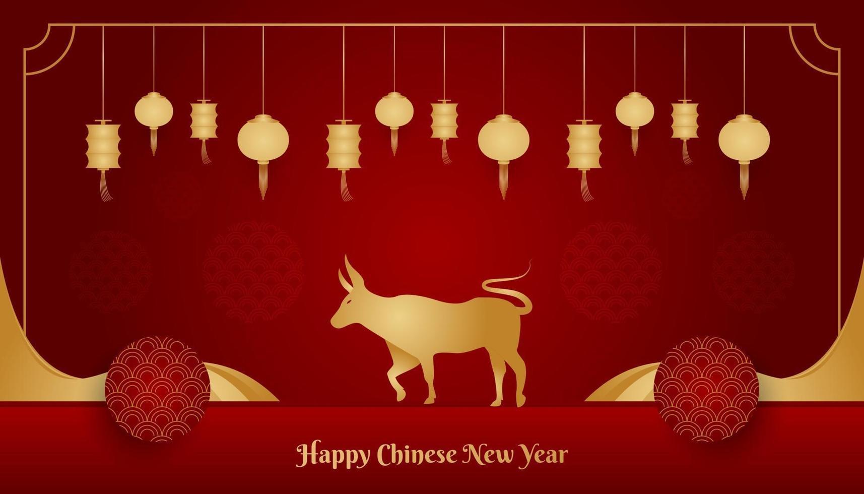 lyckligt kinesiskt nyårsbanner med gyllene oxe och lykta på röd bakgrund. kinesisk zodiaksymbol. månens nya år 2021 år av oxen vektor