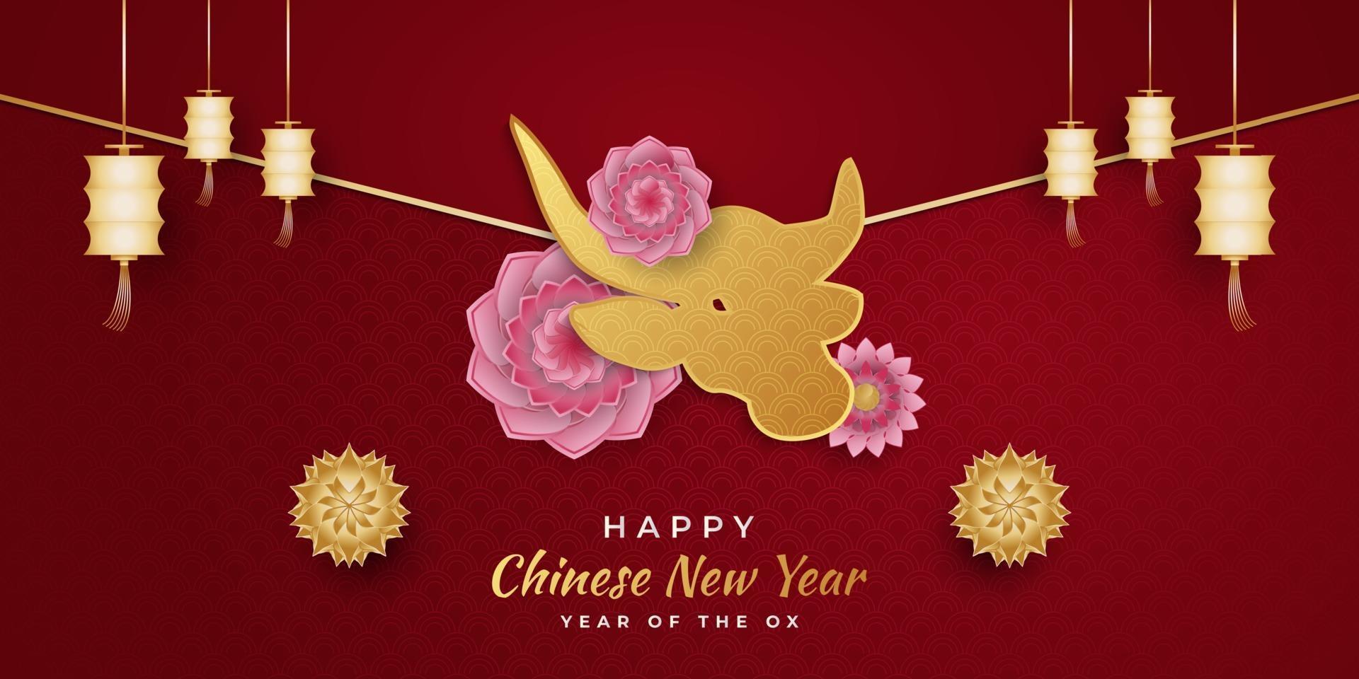 kinesiskt nyår 2021 år av oxen. lyckligt nyårsbanner med gyllene oxar och lyktor och färgglada blommor ornament på röd bakgrund vektor