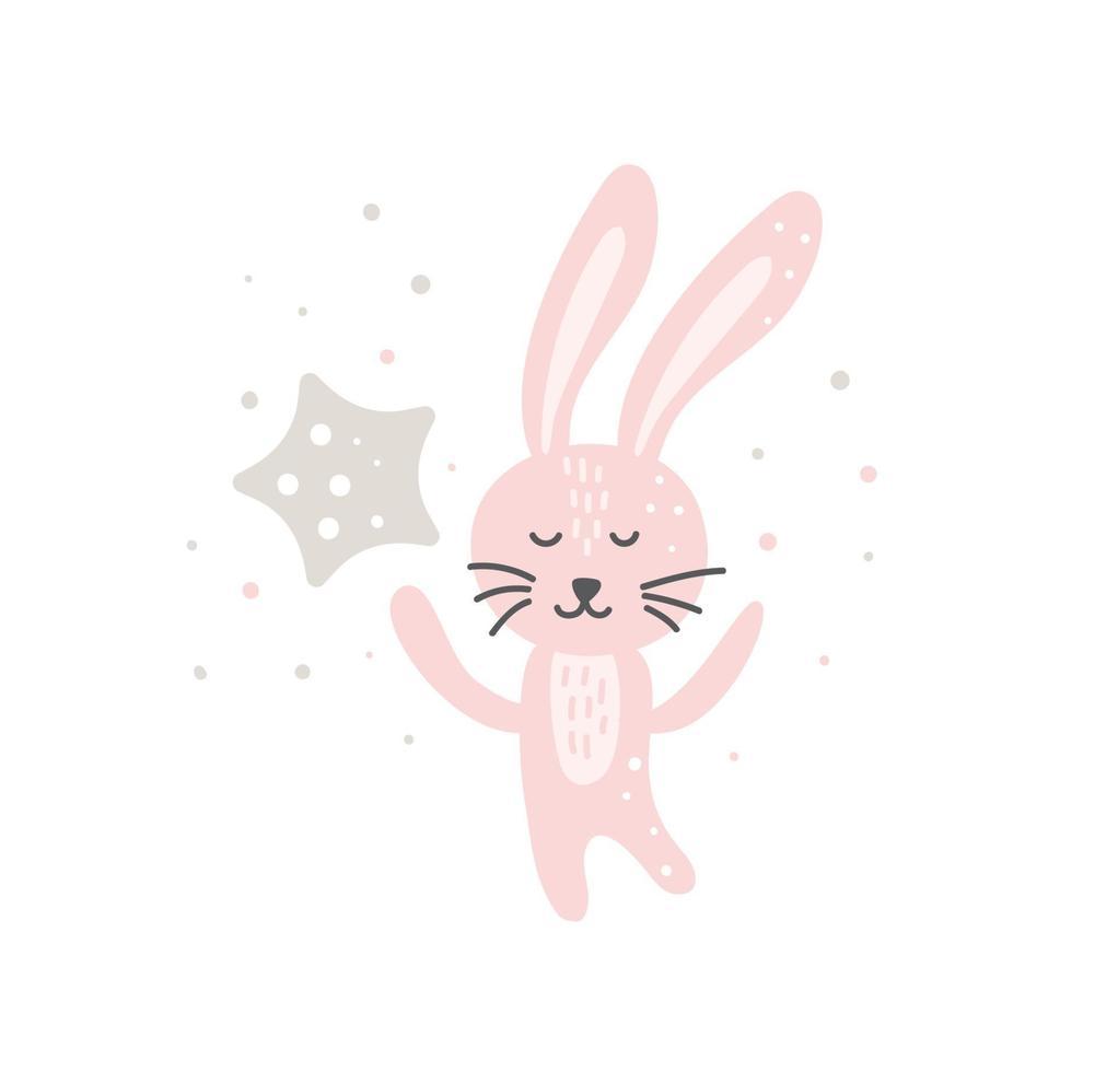 rolig kanin med stjärna härlig plantskola konst i skandinavisk stil design. drömmer kanin nordisk. doodle vektor illustration dröm