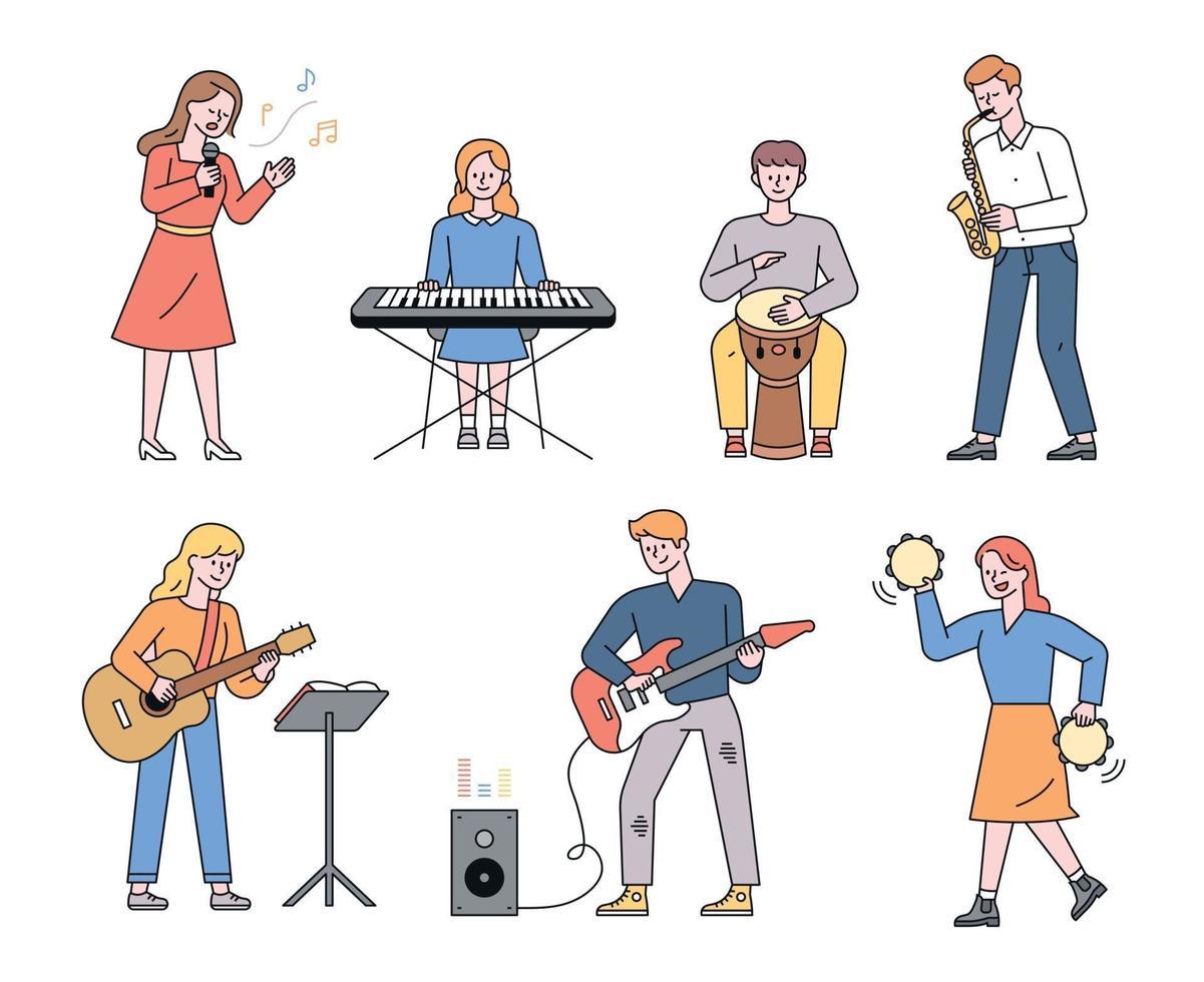 unga musiker som spelar olika instrument som tangentbord, tamburin, trumpet, djembe, gitarr platt designstil minimal vektorillustration. vektor
