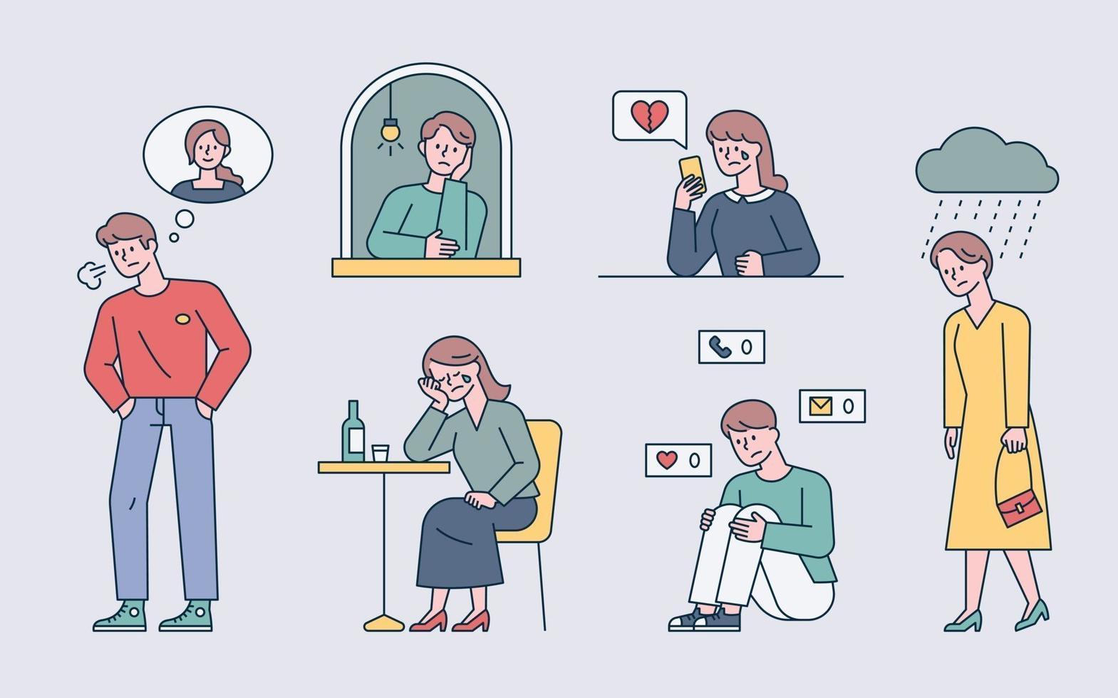 diejenigen, die ihre getrennten Liebhaber vermissen. Leute denken an jemanden oder warten auf einen Anruf. flache Designart minimale Vektorillustration. vektor