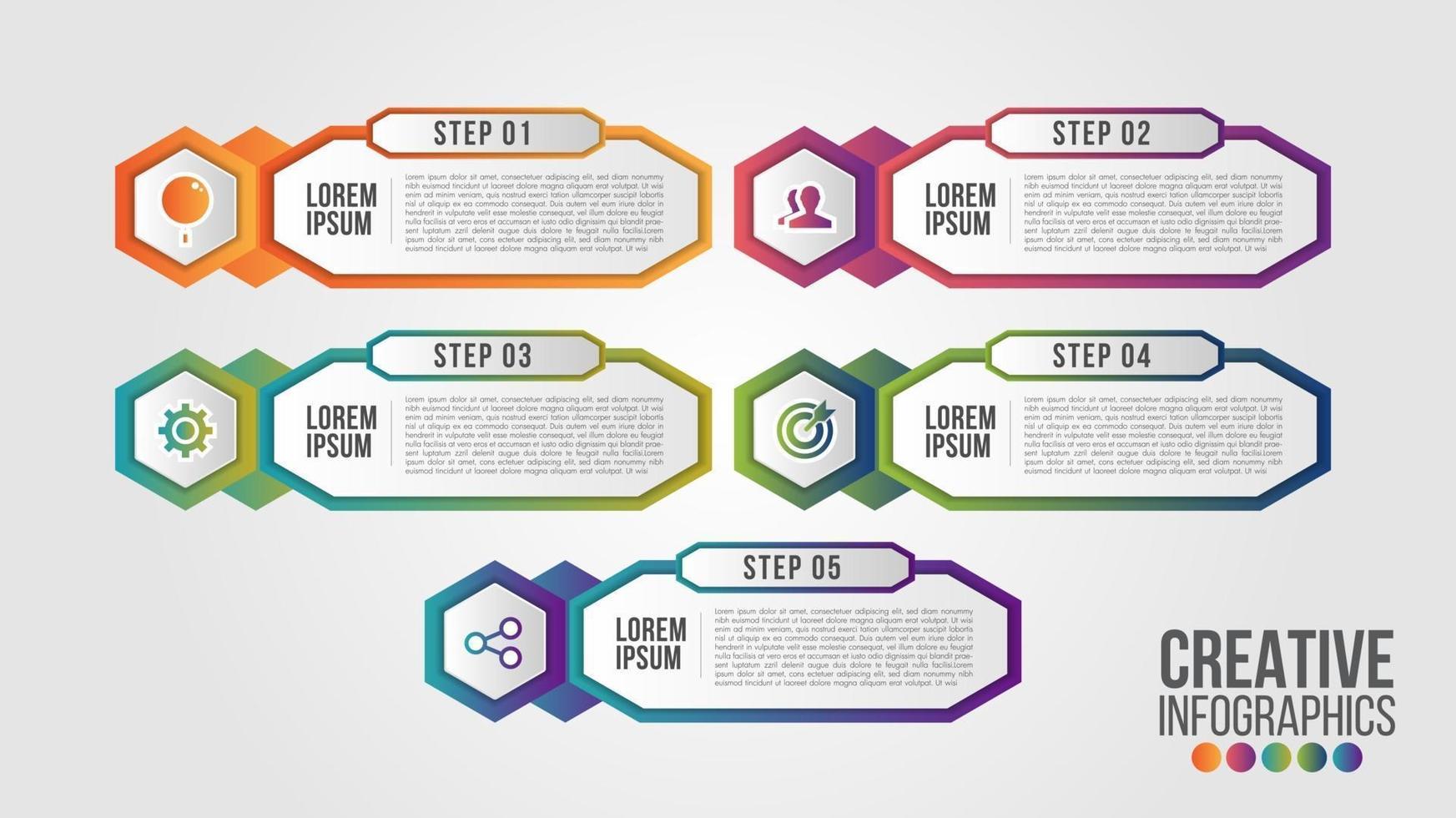 Infografik moderne Zeitachse Design Vektor Vorlage für Unternehmen mit 5 Schritten oder Optionen