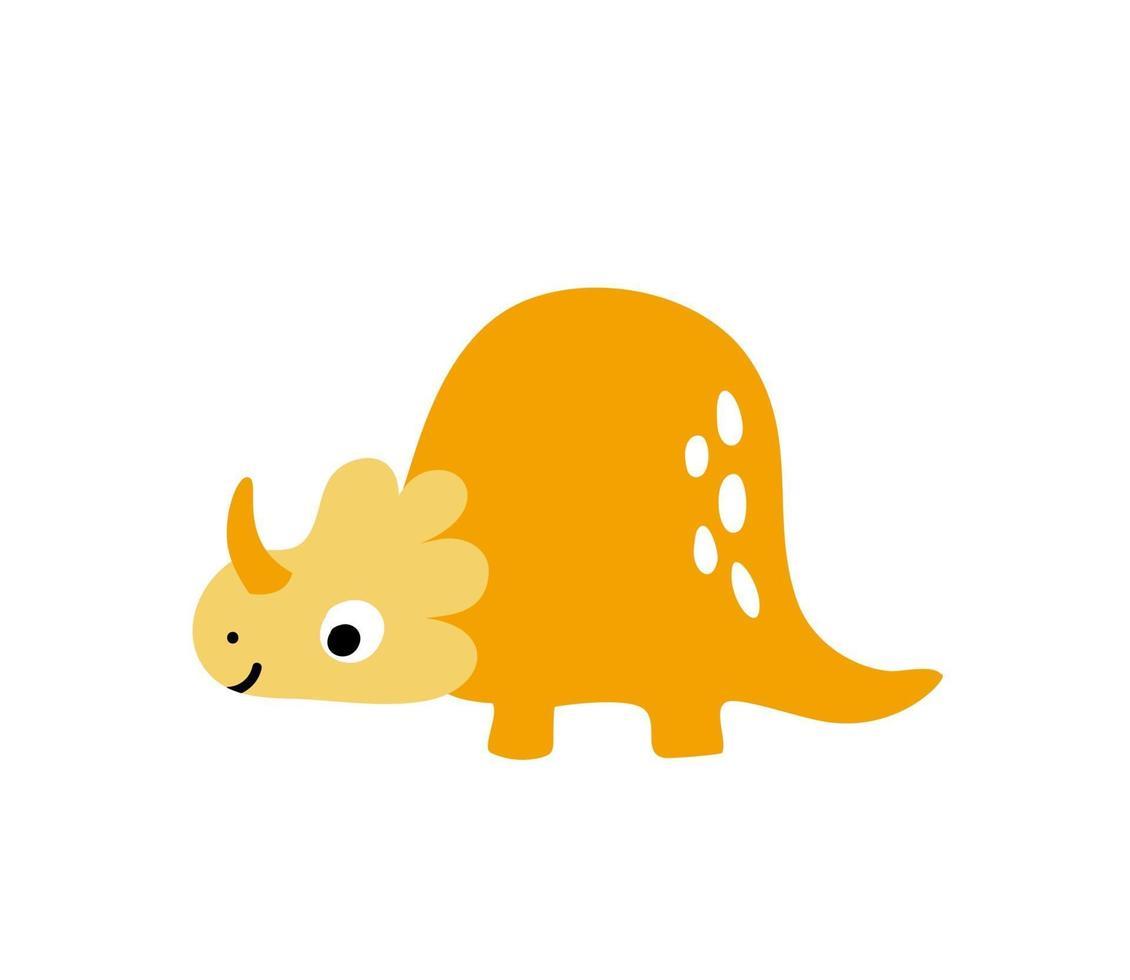 liten orange söt dinosaurie. skandinavisk vektorillustration för färgläggning av tecknad bild. barn dino bild isolerad på vitt. baby monster reptil för tryck, bok, affisch, banner färgläggning vektor
