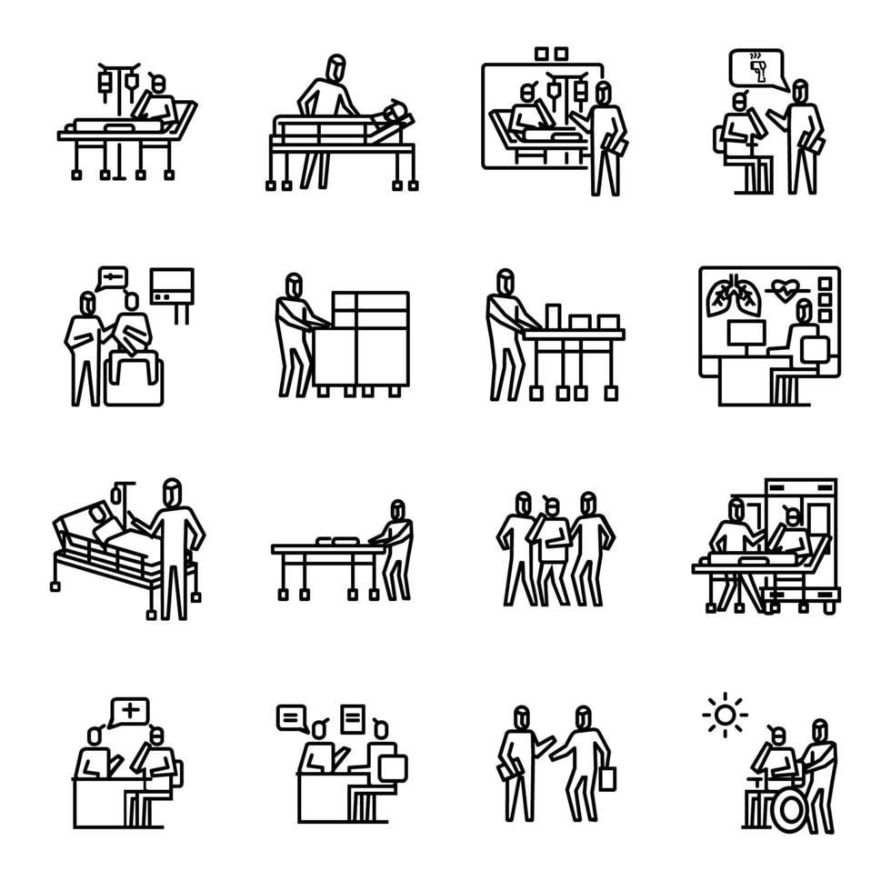 sjuksköterska, patien och docter mot korona virus illustration set vektor ikon