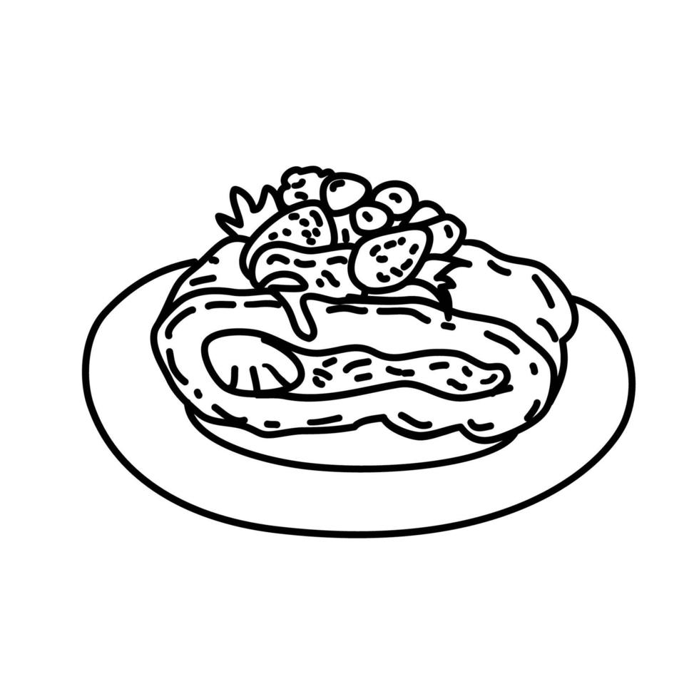 tårta ikon. doddle handritad eller svart kontur ikon stil vektor