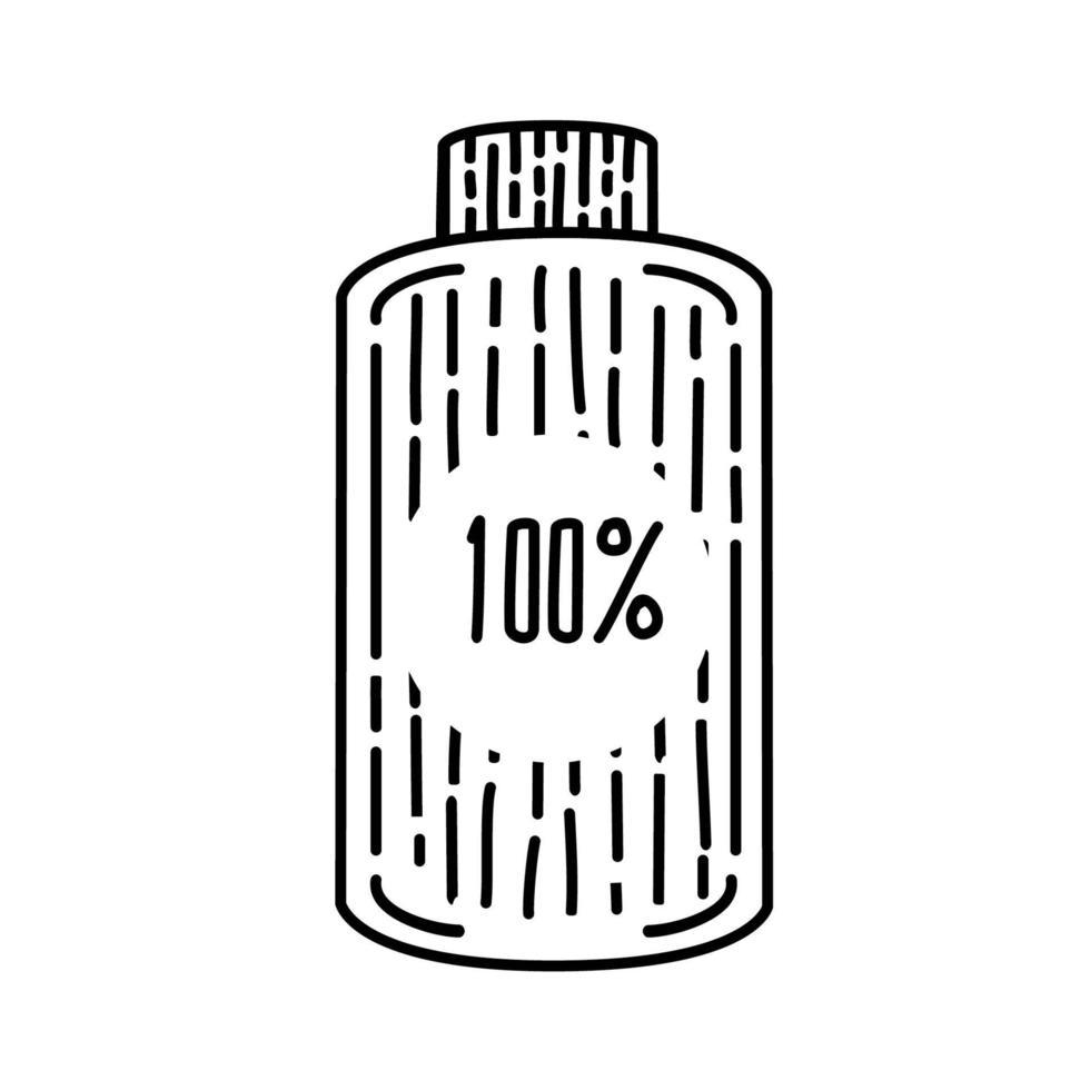 full batteri ikon. doodle handritad eller svart kontur ikon stil vektor