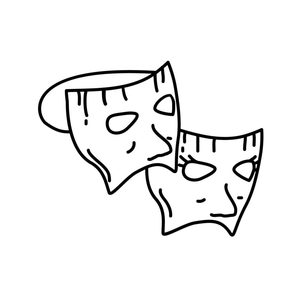 mask fest ikon. doddle handritad eller svart kontur ikon stil vektor