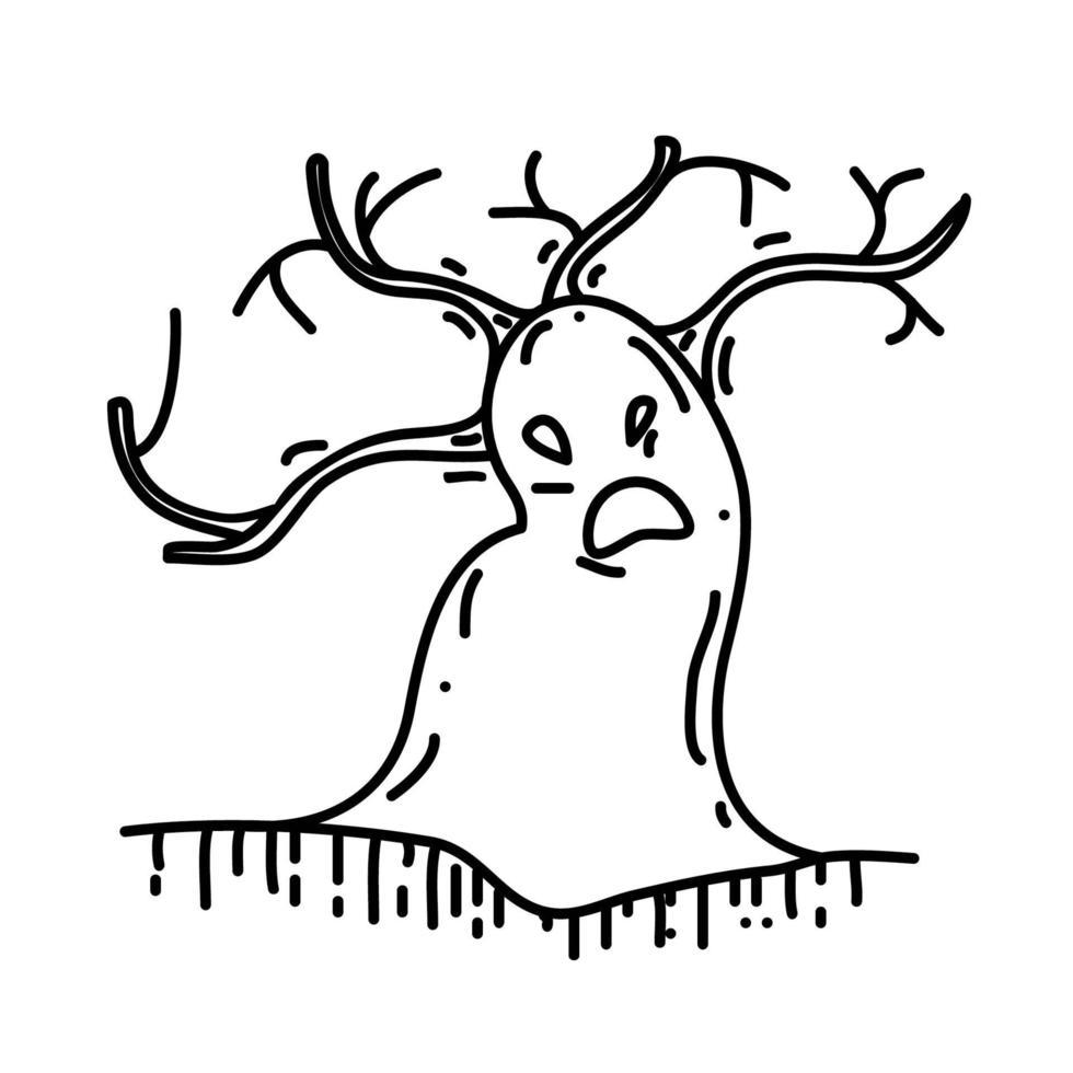 Baumsymbol. Gekritzel Hand gezeichnet oder schwarzer Umriss Symbol Stil vektor