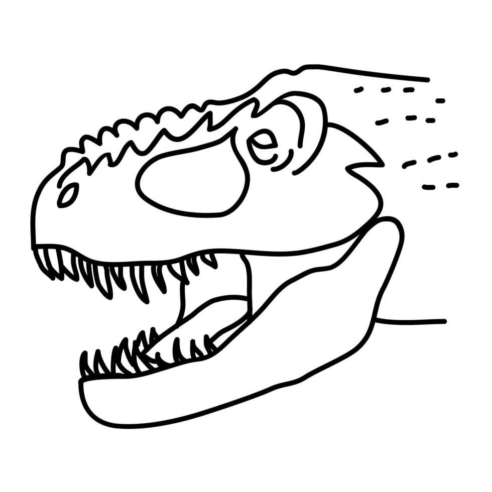 tyrannosaurus rex-ikonen. doodle handritad eller svart kontur ikon stil vektor
