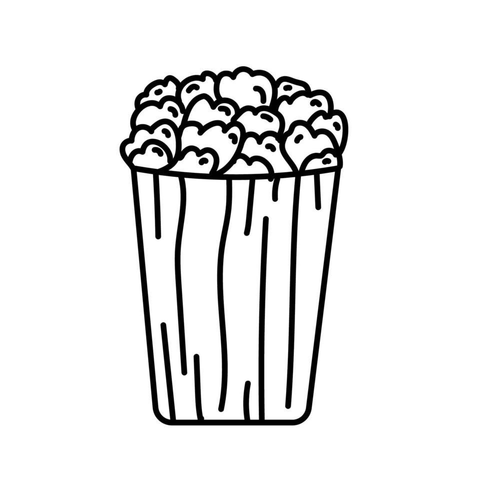 Popcorn-Symbol. Gekritzel Hand gezeichnet oder schwarzer Umriss Symbol Stil vektor
