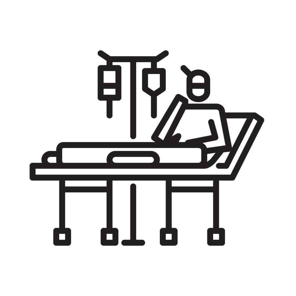 väntar på patientplaceringsikonen. symbol för aktivitet eller illustration för att hantera koronaviruset vektor
