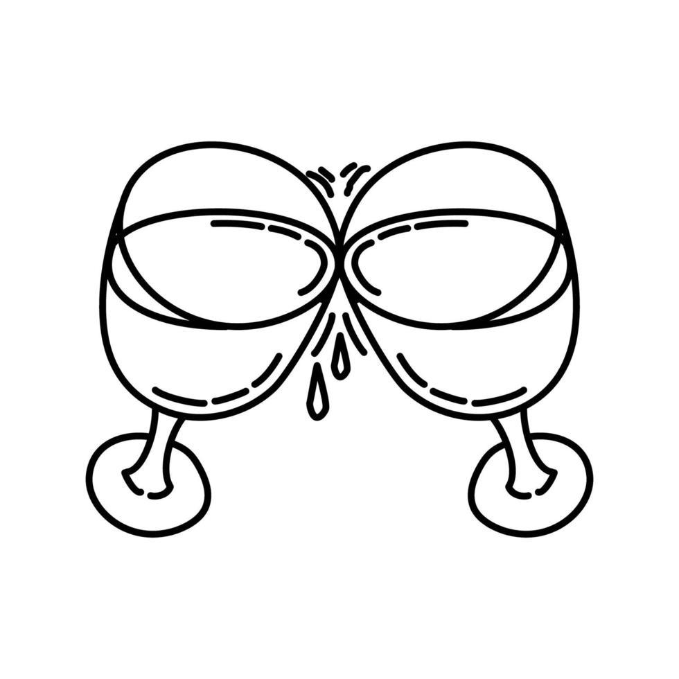 klirrande glasikon. doodle handritad eller dispositionsikon stil vektor