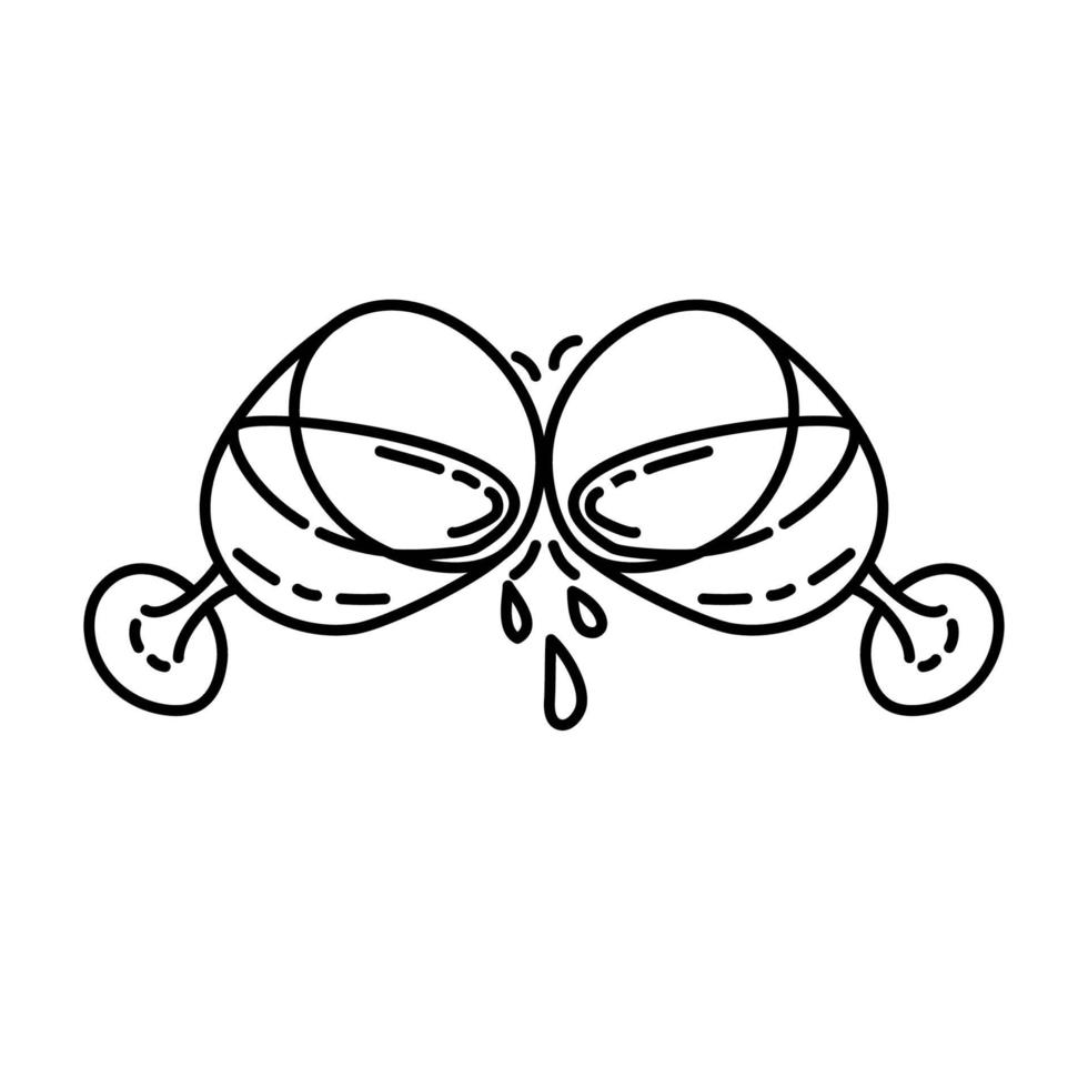 klirrande ikon. doodle handritad eller dispositionsikon stil vektor