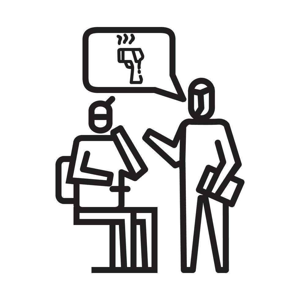 kontrollera kroppstemperaturikonen. symbol för aktivitet eller illustration för att hantera koronaviruset vektor