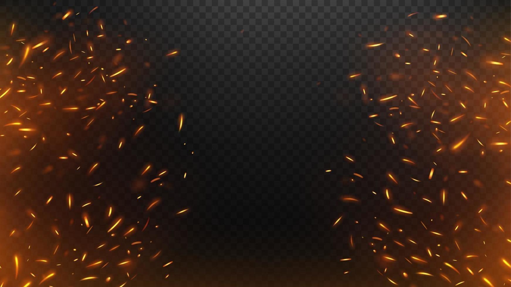 Feuer fliegende Funken mit einem dunklen Hintergrund vektor
