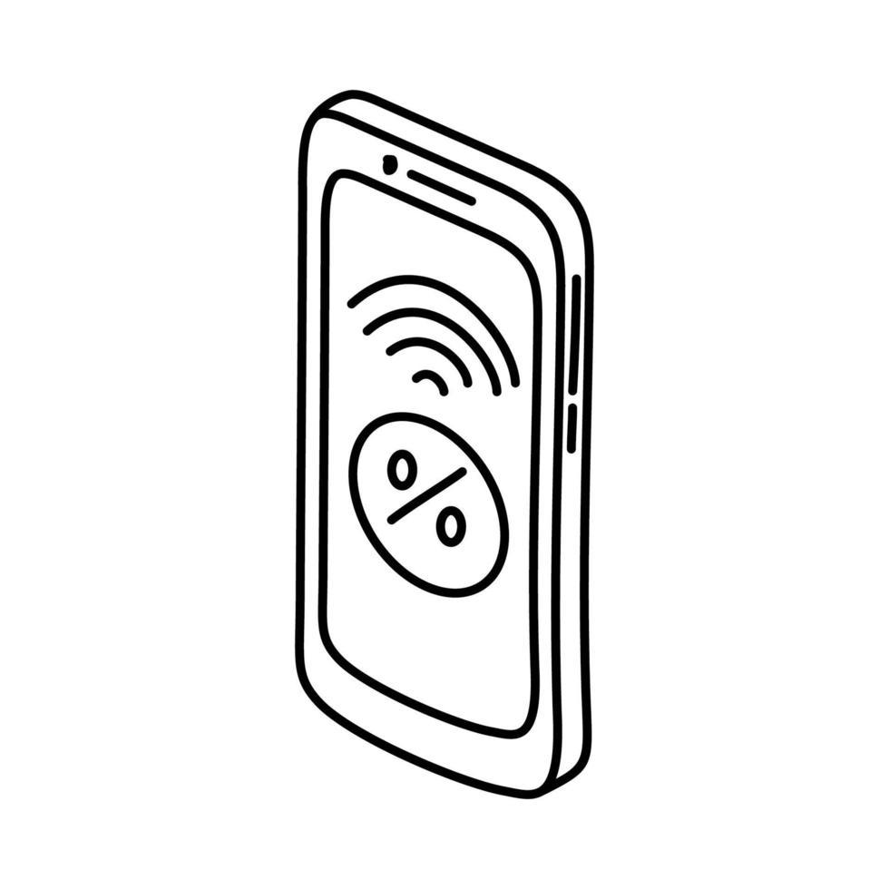 mobil handel ikon. doodle handritad eller dispositionsikon stil vektor