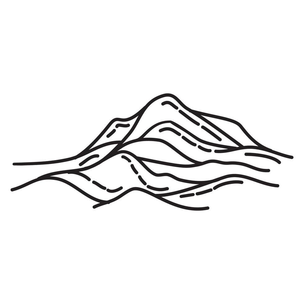 sandstrand ikon. doodle handritad eller dispositionsikon stil vektor
