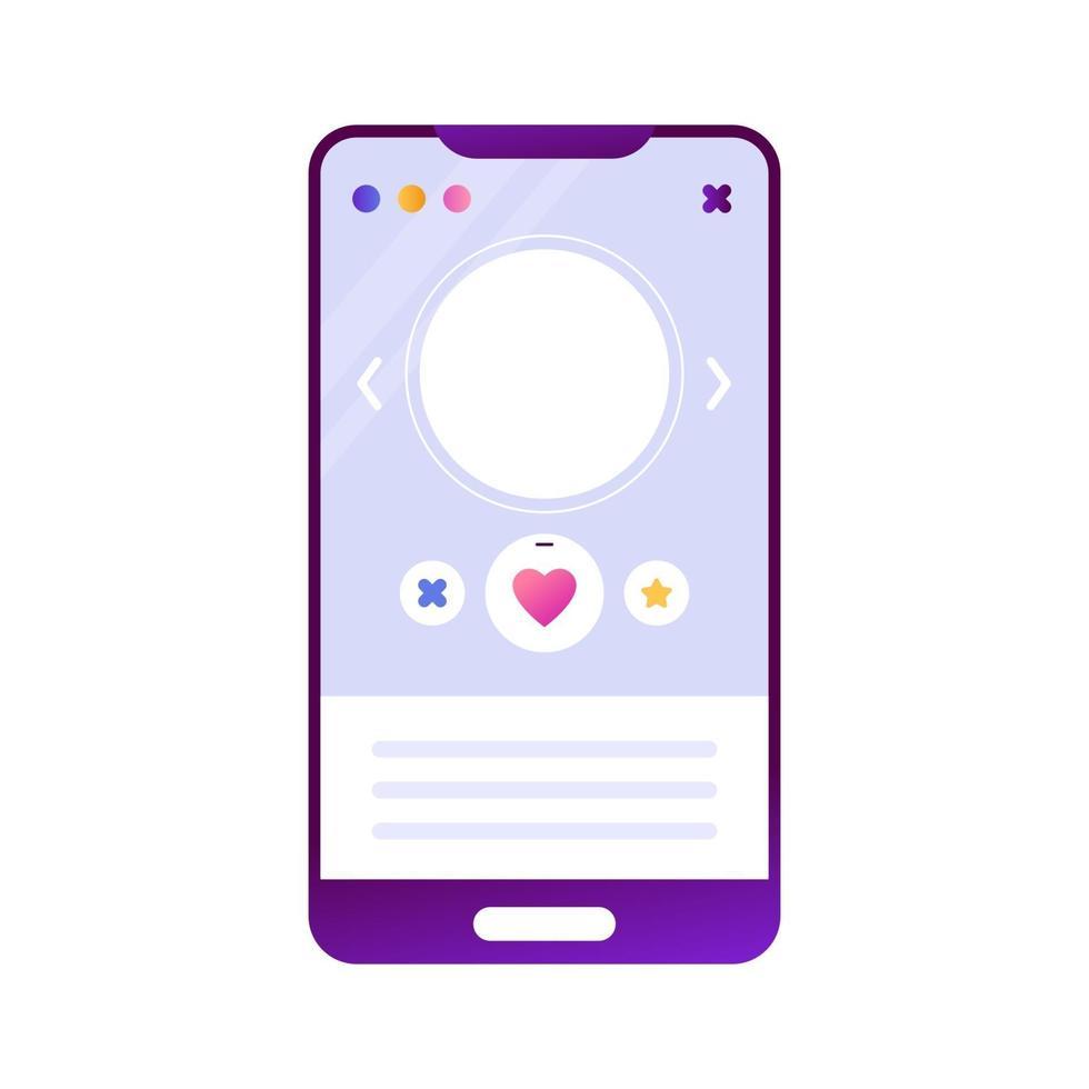 mobiltelefon smartphone med en online dating app. sociala nätverk, gillanden, favoriter på internet. isolerat objekt på en vit bakgrund, mocap vektor