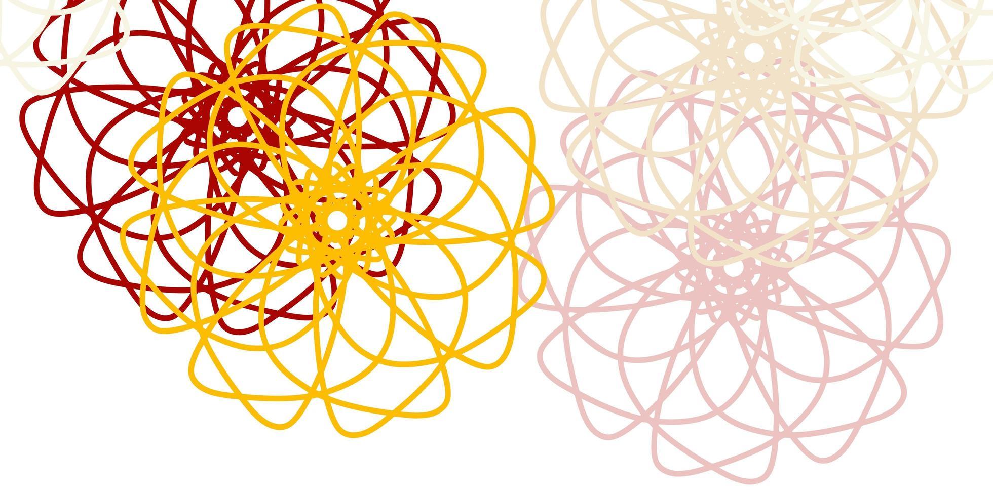 hellorange Vektor Gekritzel Textur mit Blumen.
