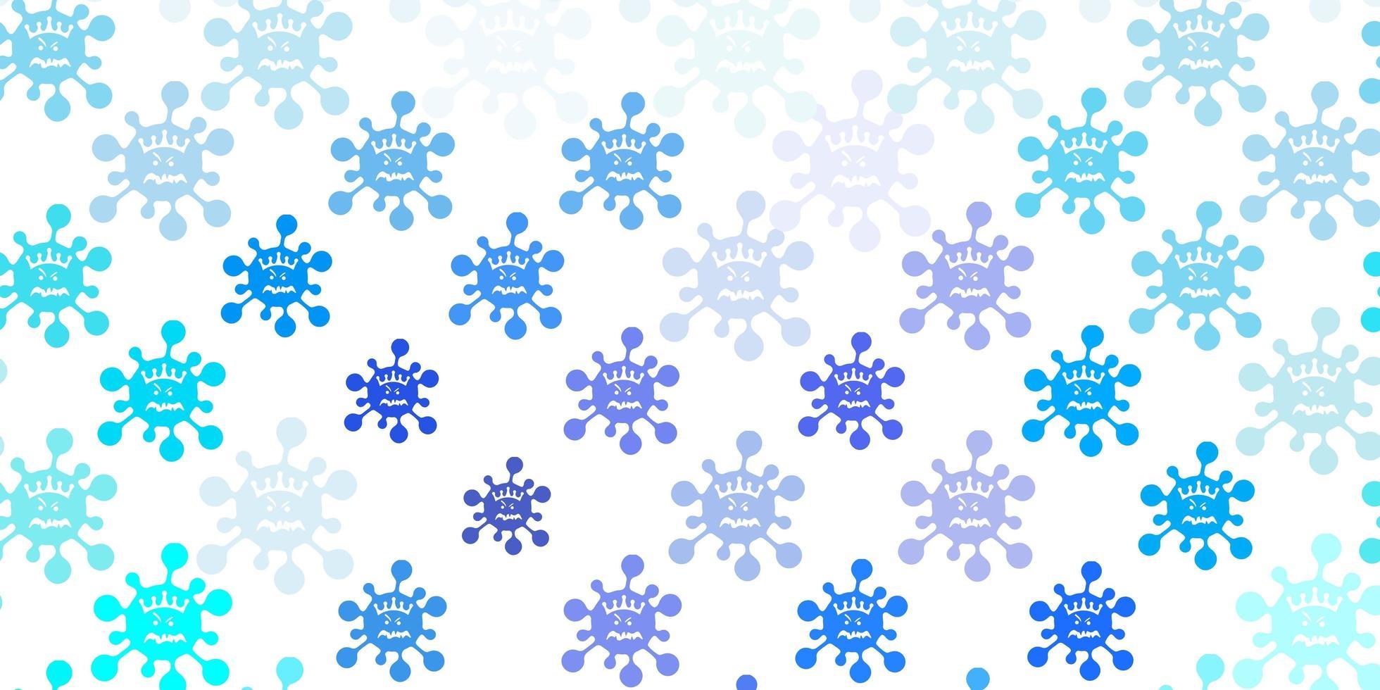 hellblauer Vektorhintergrund mit covid-19 Symbolen. vektor