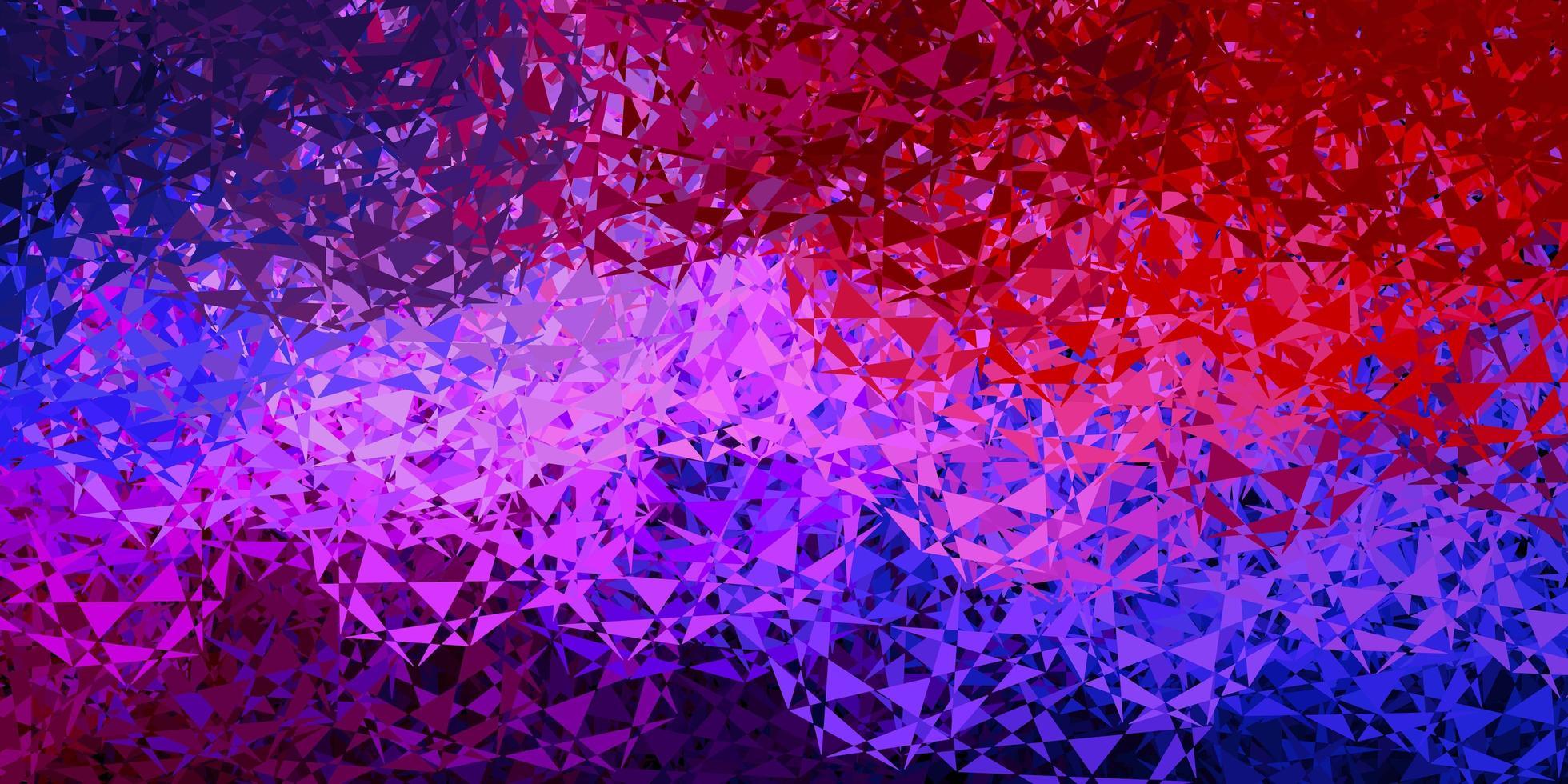 hellblaue, rote Vektorschablone mit Dreiecksformen. vektor