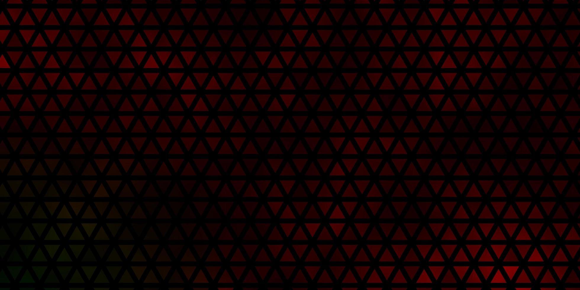 dunkelgrüne, rote Vektorbeschaffenheit mit dreieckigem Stil. vektor