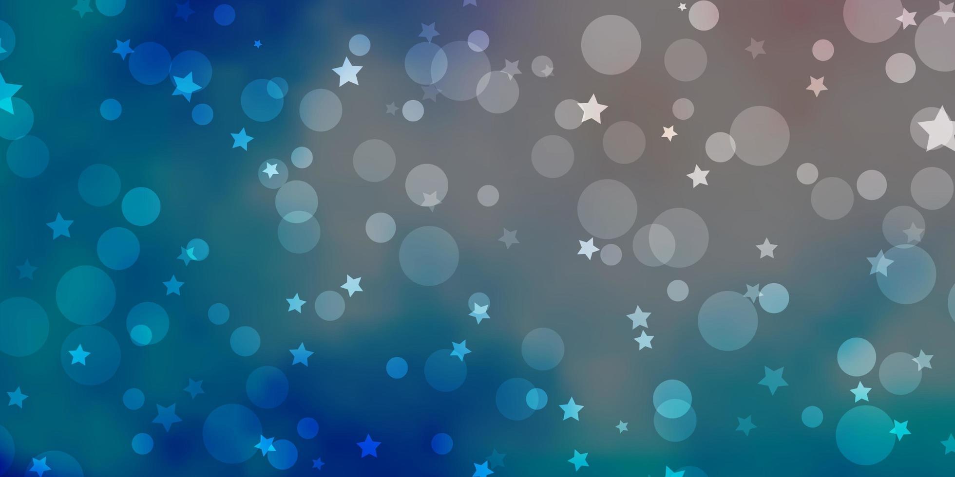 hellrosa, blauer Vektorhintergrund mit Kreisen, Sternen. vektor