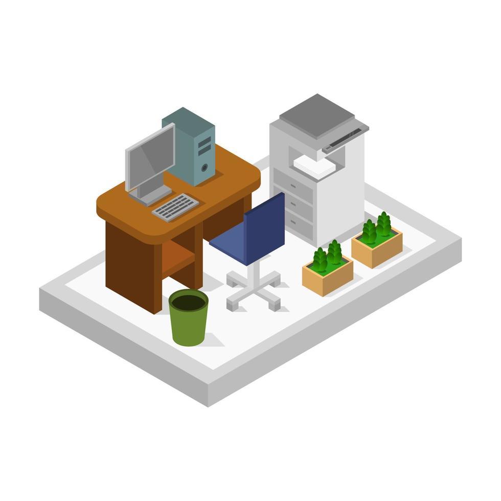 isometrischer Büroraum auf weißem Hintergrund vektor