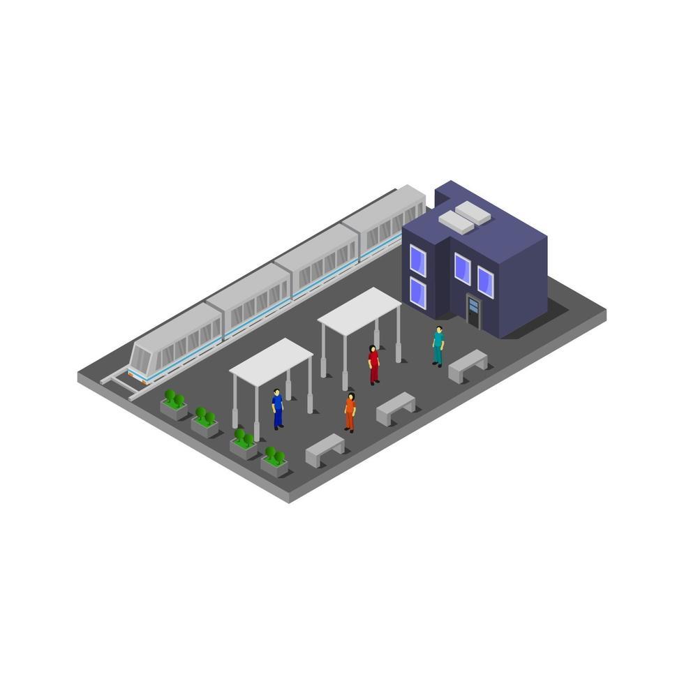 isometrischer Bahnhof auf weißem Hintergrund vektor