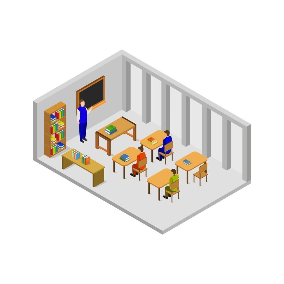 isometrischer Universitätsraum auf weißem Hintergrund vektor