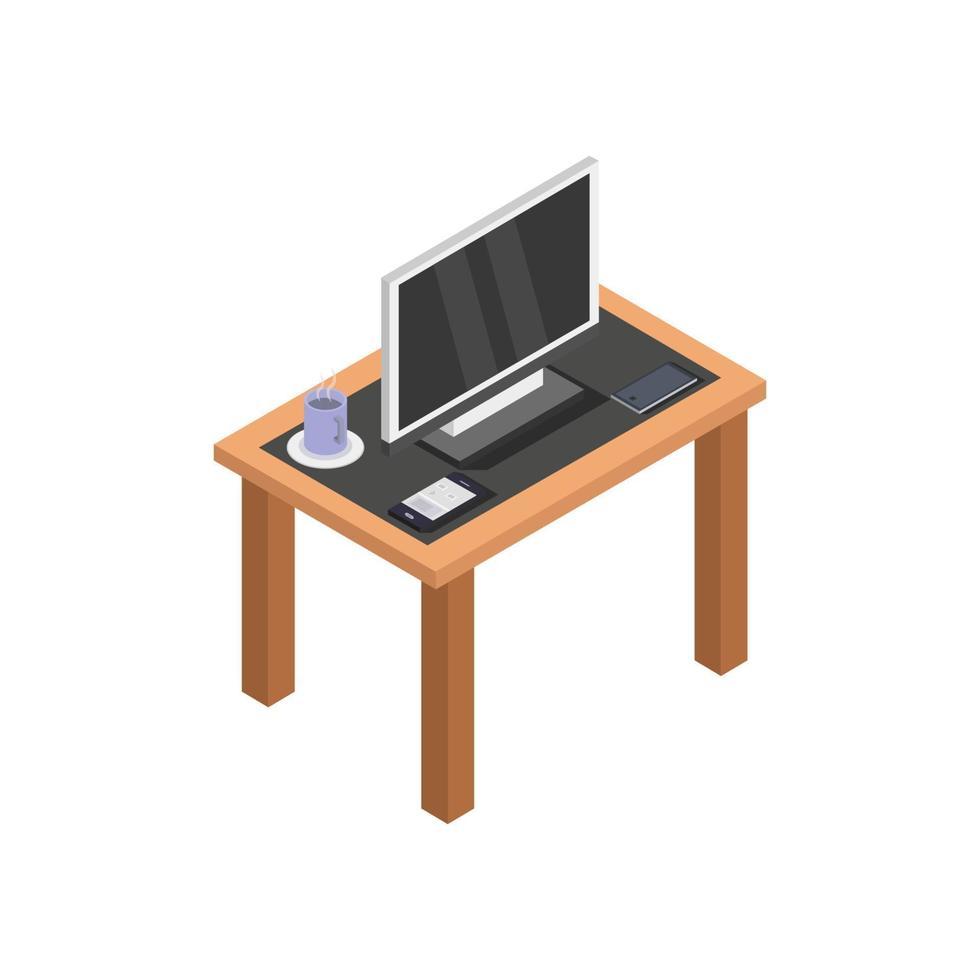 Tabelle mit isometrischem Fernsehen auf weißem Hintergrund vektor