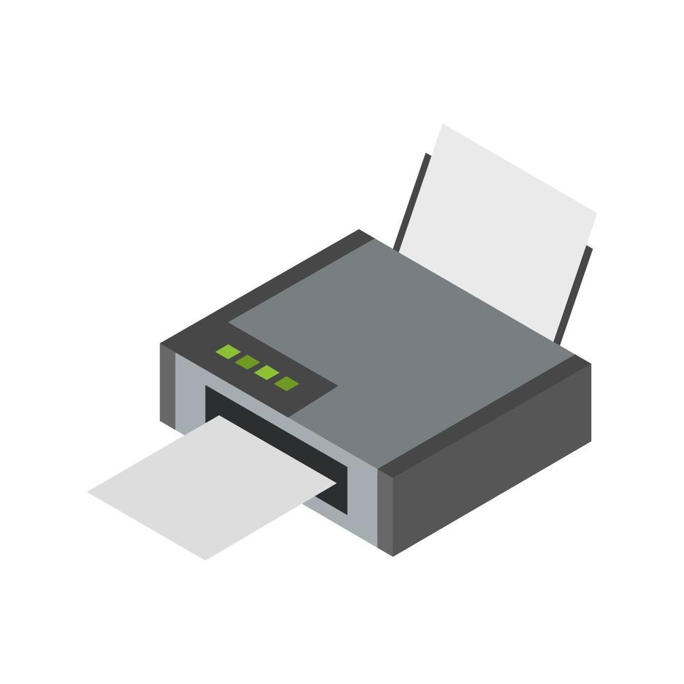 isometrischer Drucker auf weißem Hintergrund dargestellt vektor